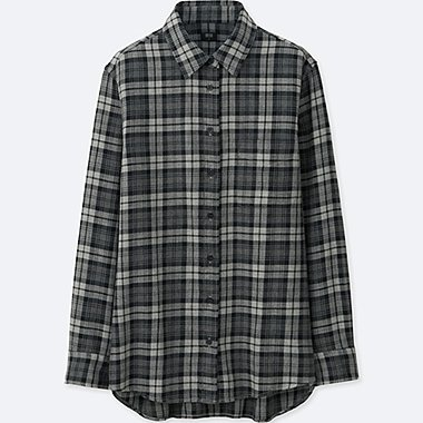 WOMEN FLANNEL CHECK LONG SLEEVE SHIRT, GRAY, medium
