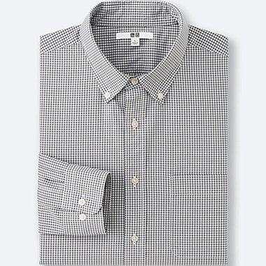 MEN Extra Fine Cotton Broadcloth Checked Long Sleeve Shirt