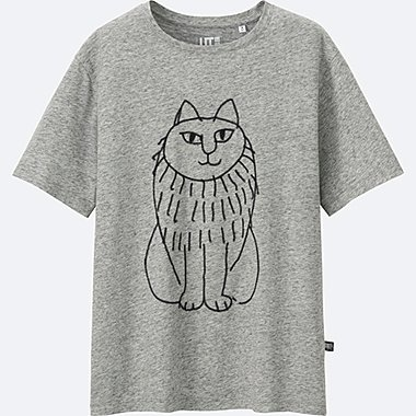 WOMEN LISA LARSON SHORT SLEEVE GRAPHIC T-SHIRT, GRAY, medium