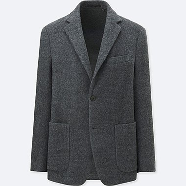 MEN WOOL-BLENDED COMFORT JACKET, GRAY, medium