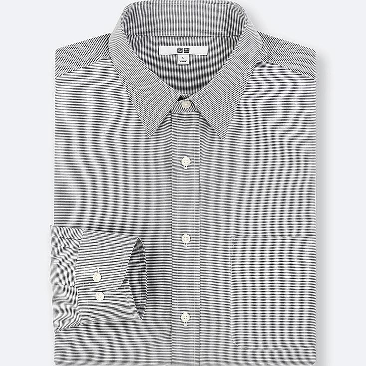 MEN EASY CARE CHECKED LONG-SLEEVE SHIRT (ONLINE EXCLUSIVE), GRAY, large