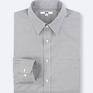 MEN EASY CARE CHECKED LONG-SLEEVE SHIRT (ONLINE EXCLUSIVE), GRAY, medium
