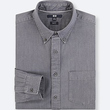 MEN DENIM SLIM-FIT LONG-SLEEVE SHIRT, GRAY, medium