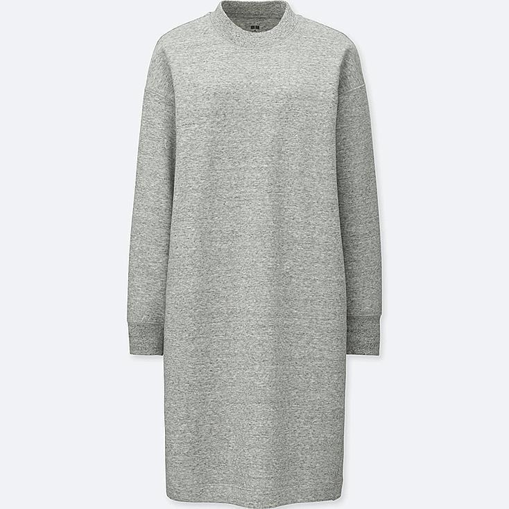 WOMEN SWEATSHIRT DRESS, GRAY, large