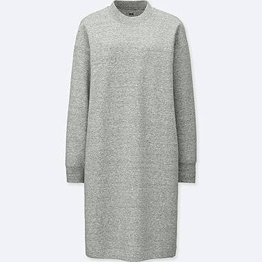 WOMEN SWEATSHIRT DRESS, GRAY, medium