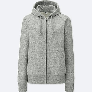 WOMEN SWEAT LONG-SLEEVE FULL-ZIP HOODED SWEATSHIRT, GRAY, medium