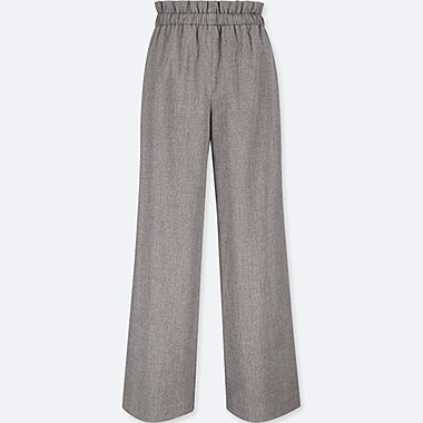 WOMEN HIGH-WAIST GATHERED WIDE-LEG PANTS, GRAY, medium