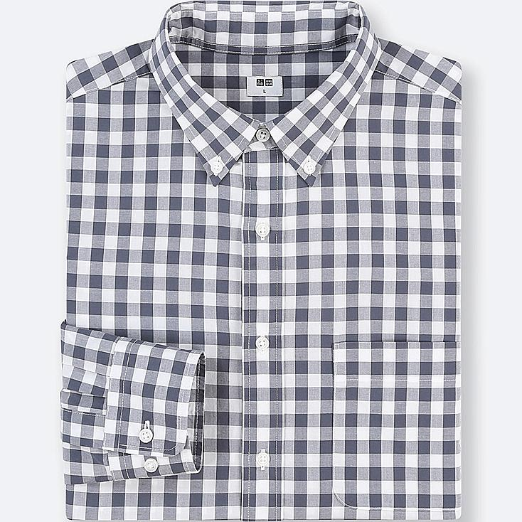 MEN EXTRA FINE COTTON CHECKED LONG-SLEEVE SHIRT | Tuggl