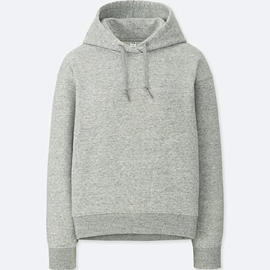 WOMEN LONG-SLEEVE HOODED SWEATSHIRT, GRAY, medium