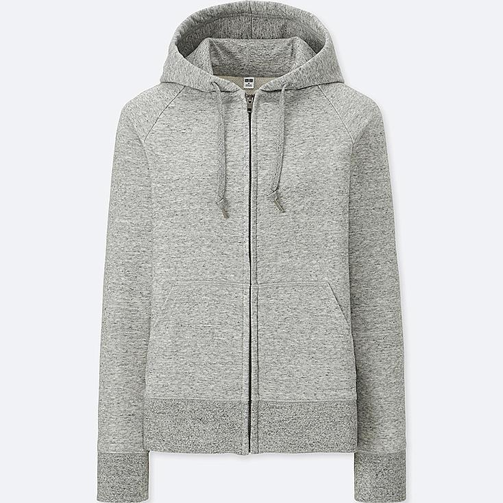 WOMEN SWEAT LONG-SLEEVE FULL-ZIP HOODIE, GRAY, large