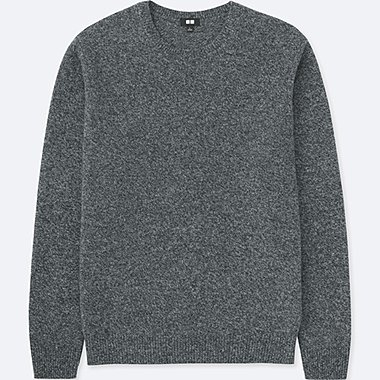MEN PREMIUM LAMBSWOOL CREWNECK LONG-SLEEVE SWEATER, GRAY, medium