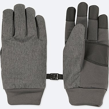 KIDS HEATTECH-LINED GLOVES, GRAY, medium
