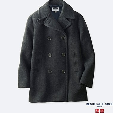 WOMEN WOOL-BLEND PEACOAT (INES DE LA FRESSANGE), GRAY, medium