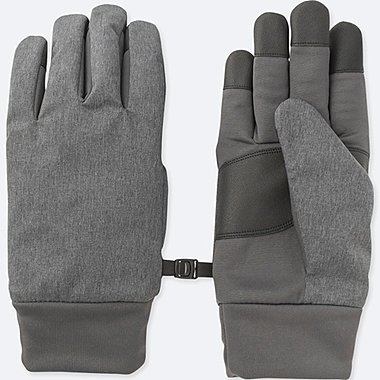 MEN HEATTECH-LINED FUNCTION GLOVES, GRAY, medium