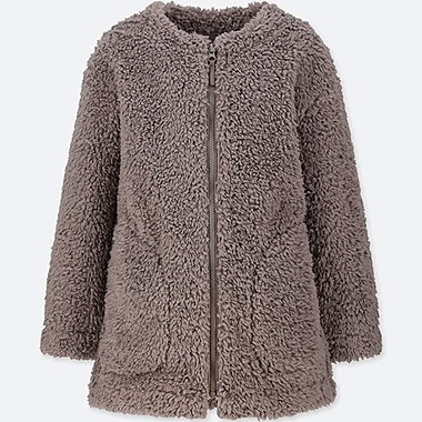 GIRLS FLEECE WINDPROOF COLLARLESS COAT