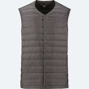 MEN ULTRA LIGHT DOWN COMPACT V-NECK PRINT VEST, GRAY, medium