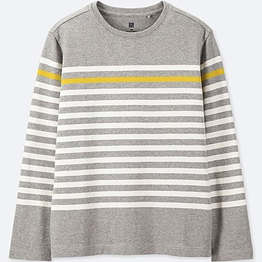 KIDS STRIPED LONG-SLEEVE T-SHIRT, GRAY, medium