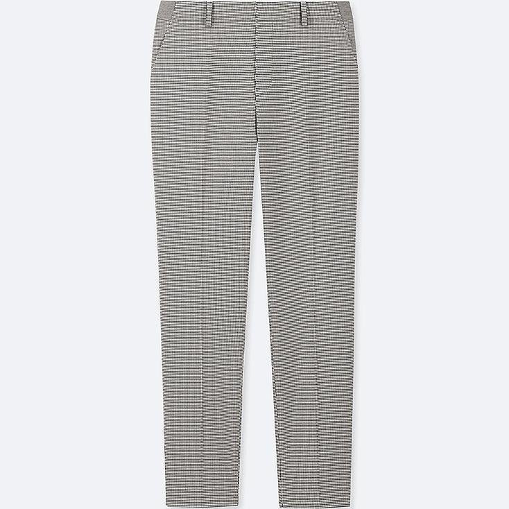 WOMEN EZY ANKLE-LENGTH PANTS (HOUNDSTOOTH), GRAY, large