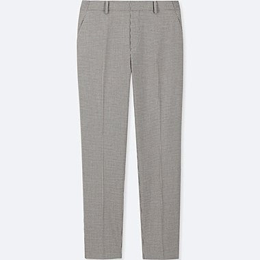 WOMEN EZY HOUNDSTOOTH ANKLE LENGTH TROUSERS