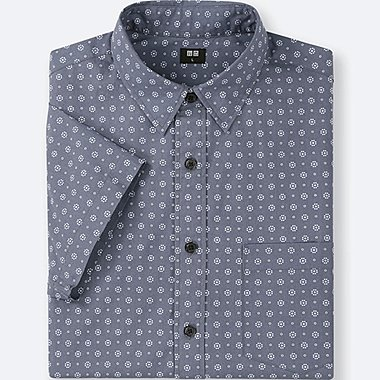 MEN BROADCLOTH PRINTED SHORT-SLEEVE SHIRT, GRAY, medium