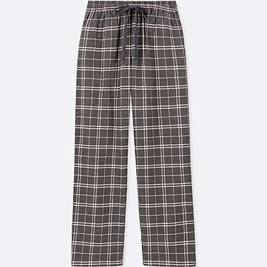 WOMEN PLAID FLANNEL PANTS, GRAY, medium