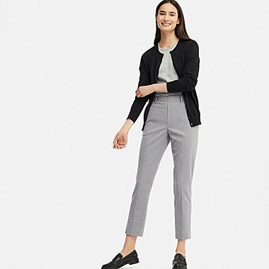 WOMEN EZY ANKLE-LENGTH PANTS, GRAY, medium