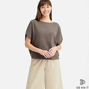 WOMEN 3D COTTON COCOON CREW NECK SHORT-SLEEVE SWEATER, GRAY, medium