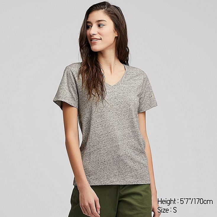 WOMEN SUPIMA® COTTON V-NECK SHORT-SLEEVE T-SHIRT, GRAY, large