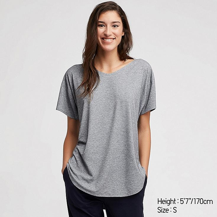 WOMEN AIRism SEAMLESS V-NECK LONG T-SHIRT, GRAY, large