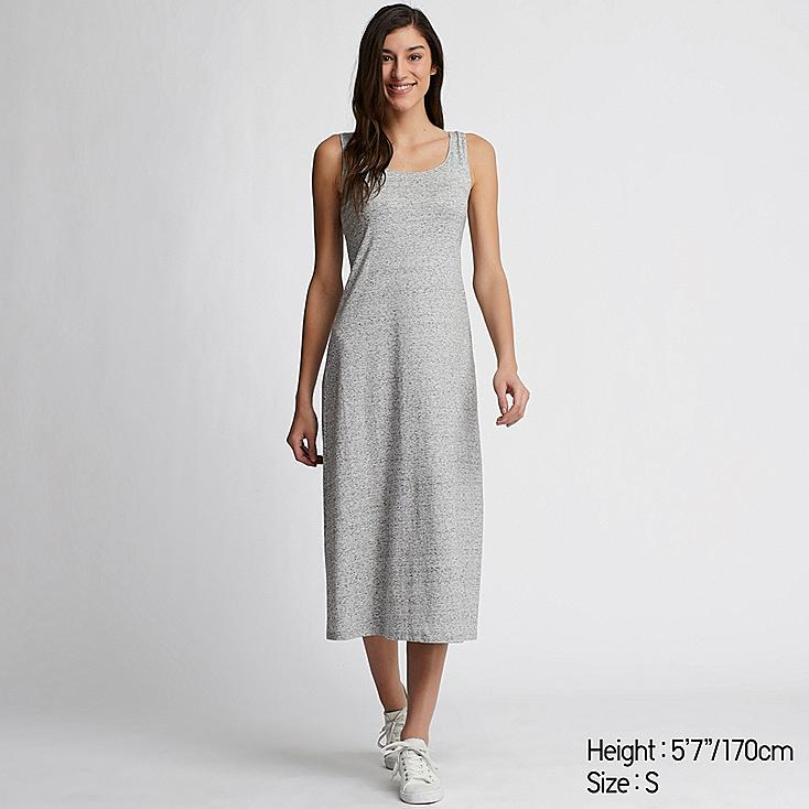 WOMEN SLEEVELESS LONG BRA DRESS, GRAY, large