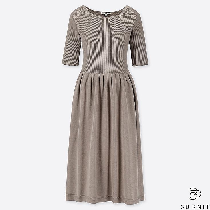 WOMEN 3D COTTON RIBBED HALF SLEEVE DRESS, GRAY, large