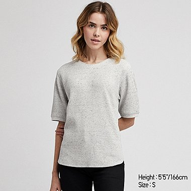 DAMEN T-SHIRT IN WAFFELOPTIK
