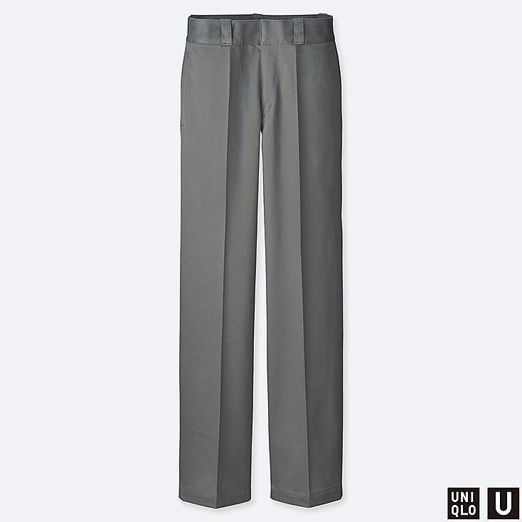 WOMEN U COTTON STRAIGHT PANTS, GRAY, large