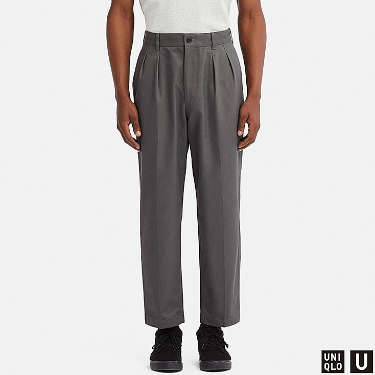 MEN U WIDE-FIT PLEATED TAPERED CHINO, GRAY, large