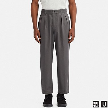 MEN U WIDE-FIT PLEATED TAPERED CHINO, GRAY, medium