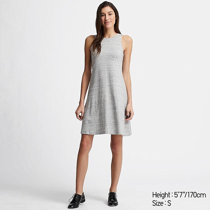 WOMEN COTTON MODAL SLEEVELESS DRESS, GRAY, large