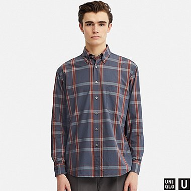 MEN U WIDE-FIT CHECKED LONG-SLEEVE SHIRT, GRAY, medium