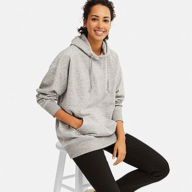 WOMEN BIG SWEAT LONG-SLEEVE PULLOVER HOODIE (ONLINE EXCLUSIVE), GRAY, medium