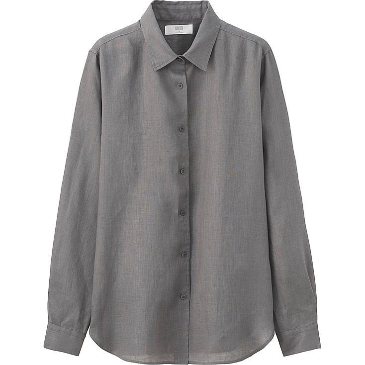 Women premium linen long sleeve button front shirt uniqlo us for Grey long sleeve shirts