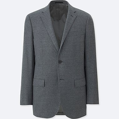 MEN STRETCH WOOL SLIM FIT JACKET, GRAY, medium