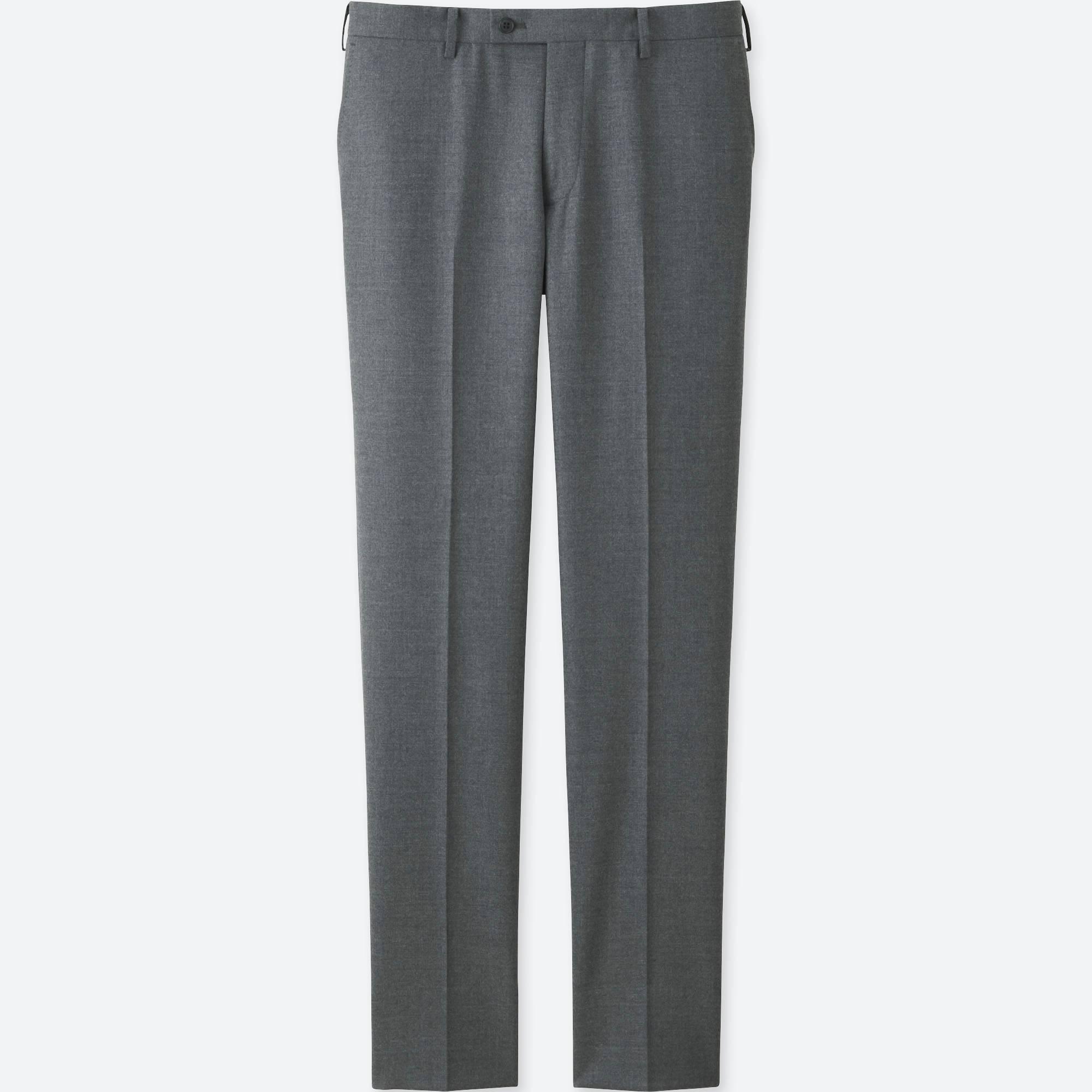 Men Stretch Wool Slim Fit Flat Front Pants