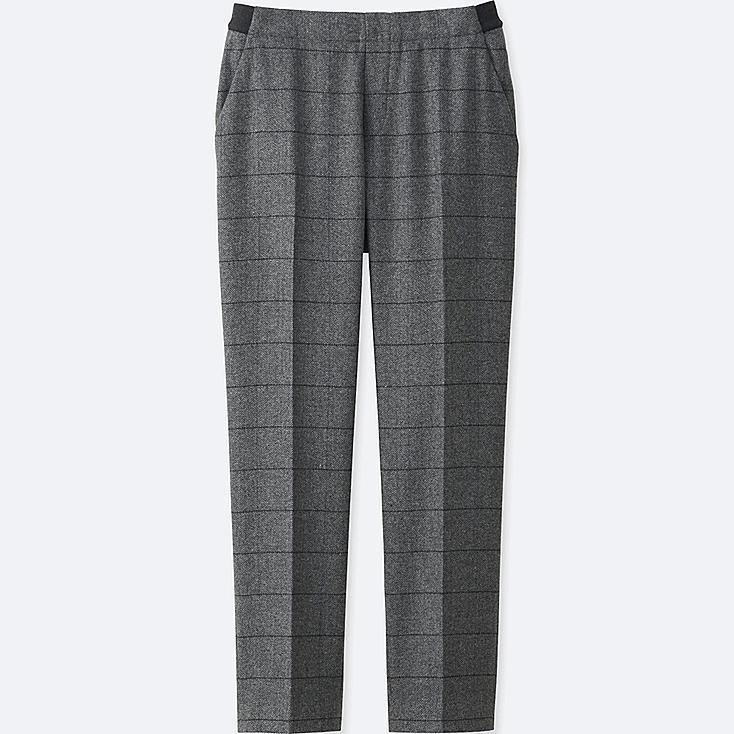 WOMEN TWEED ANKLE LENGTH PANTS, GRAY, large