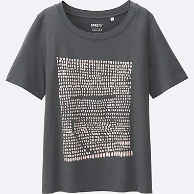 WOMEN SPRZ NY  Super Geometric GRAPHIC T-SHIRT (GEGO), GRAY, medium