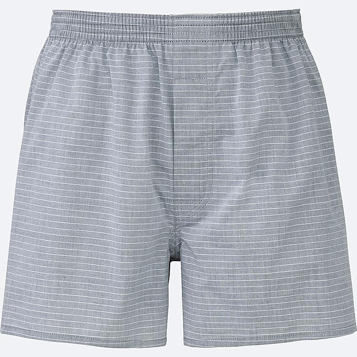 MEN WOVEN STRIPED BOXERS, GRAY, large