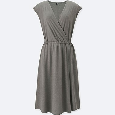 WOMEN Jersey Wrap Front Sleeveless Dress