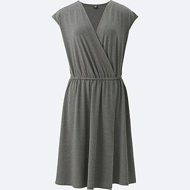 WOMEN JERSEY WRAP FRONT SLEEVELESS DRESS, GRAY, medium