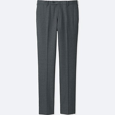 MEN STRETCH SLIM FIT WOOL FLAT FRONT TROUSERS