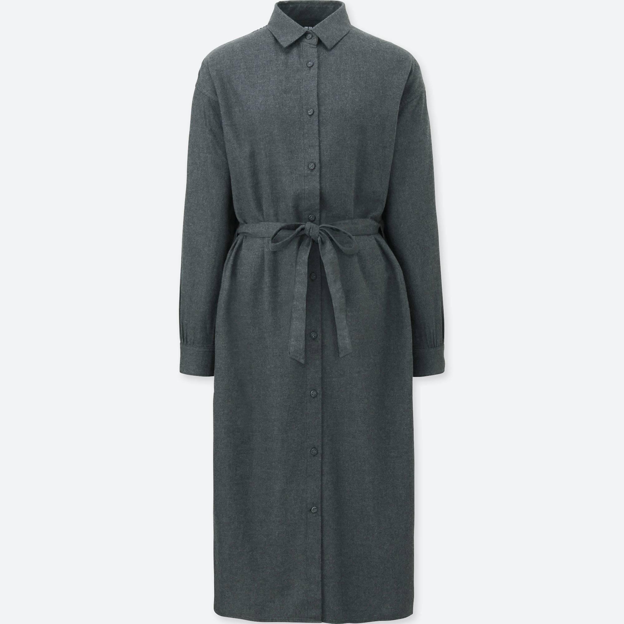 WOMEN FLANNEL LONG-SLEEVE SHIRT DRESS   UNIQLO US