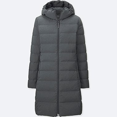 WOMEN ULTRA LIGHT DOWN STRETCH HOODED COAT