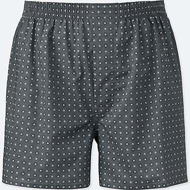 MEN WOVEN PRINTED BOXERS, GRAY, medium